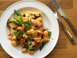 Nem wok med salatkål / kinakål, kylling og soyasovs