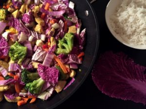Wok med rød kinakål, kylling & masser af grøntsager. Nem mad , Svinningegård